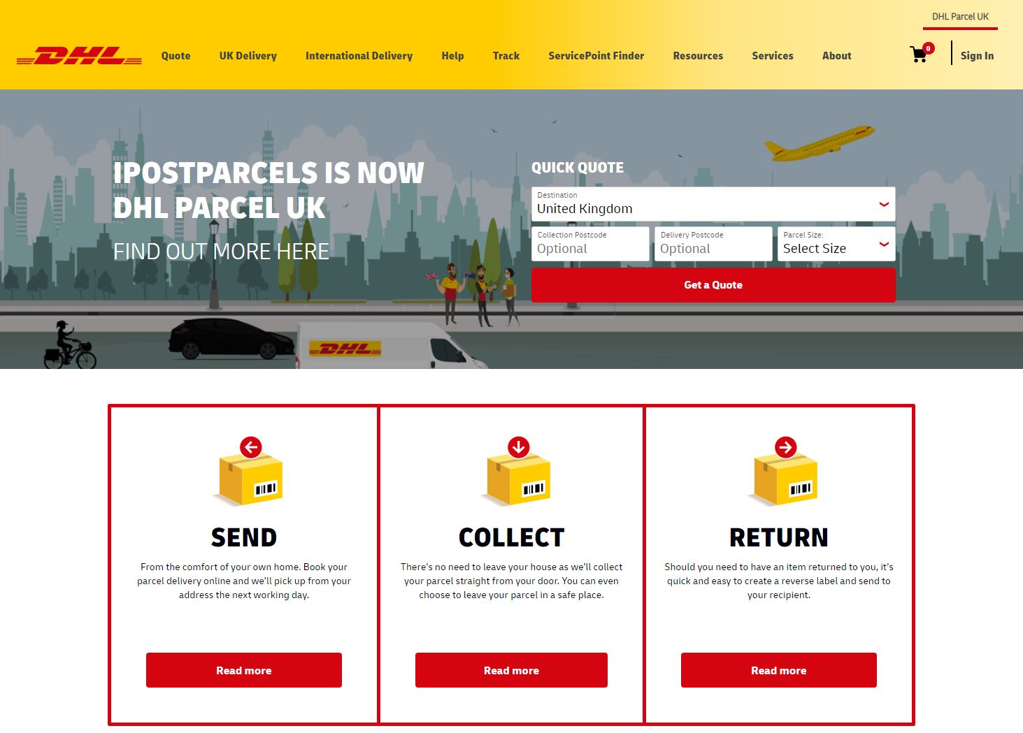 DHL Parcel UK Homepage