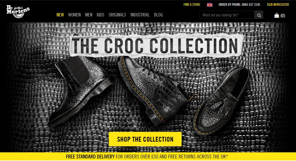 Dr. Martens Homepage Screenshot
