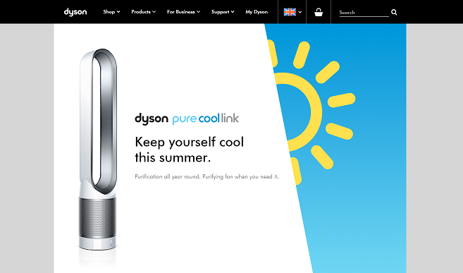 Dyson Homepage Screenshot