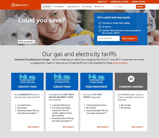 EDF Energy Homepage Screenshot