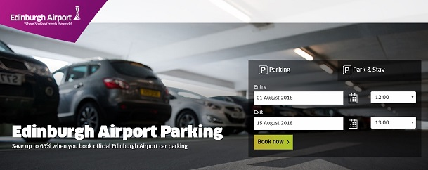 Edinburgh Airport Homepage Screenshot