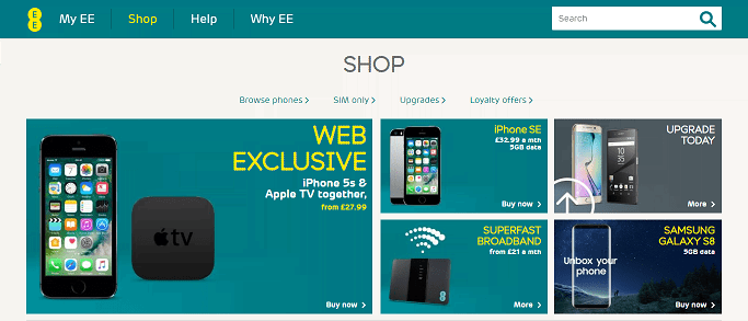 EE Mobile Homepage Screenshot