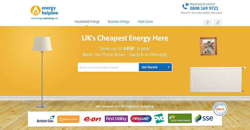 Energy Helpline Homepage Screenshot