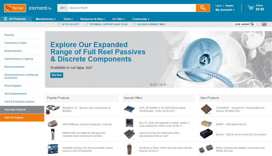 Farnell element14 Homepage Screenshot