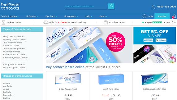 Feel Good Contact Lenses Homepage Screenshot