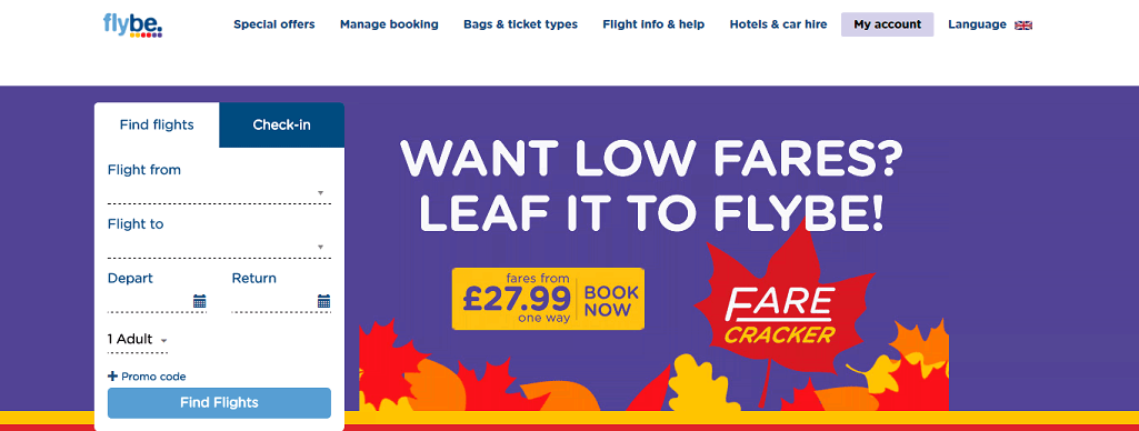 Flybe Homepage Screenshot