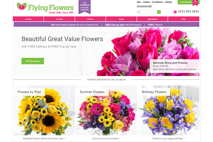 Flying Flowers Homepage Screenshot