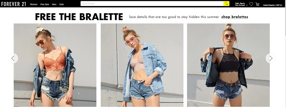 Forever 21 Homepage Screenshot