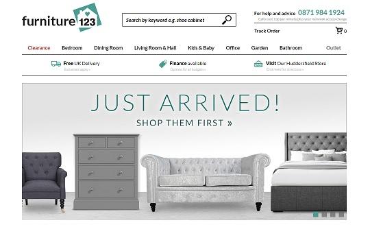 Furniture123 Homepage Screenshot