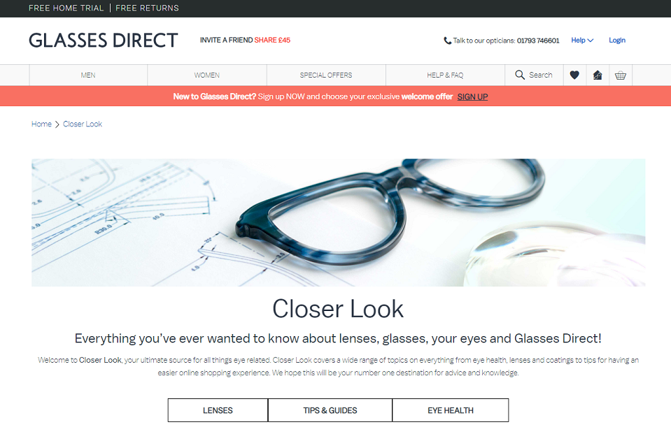 Glasses Direct Homepage Screenshot