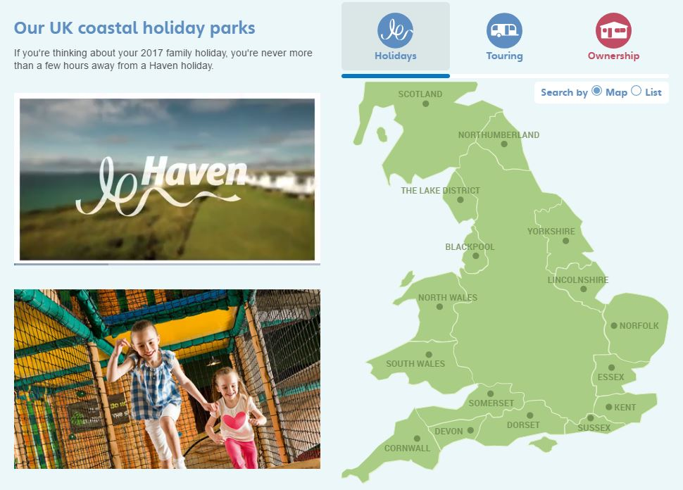 Haven Holidays Homepage Screenshot