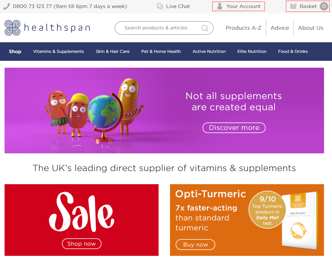 Healthspan Homepage Screenshot