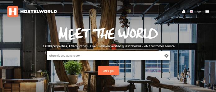 Hostelworld Homepage Screenshot - Meet The World