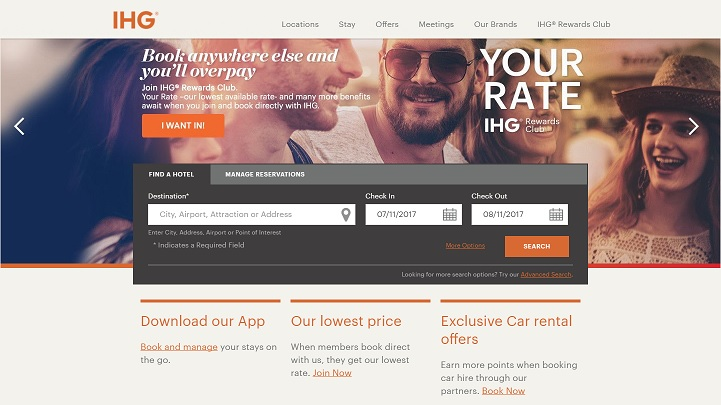 IHG Homepage Screenshot