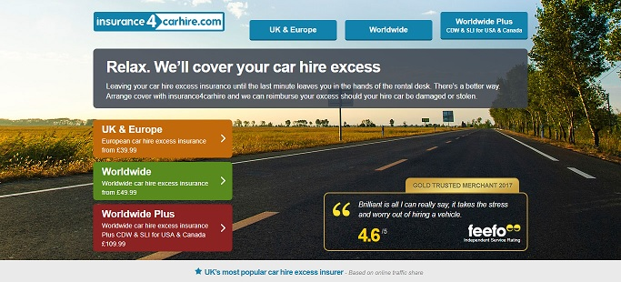 Insurance4CarHire Homepage Screenshot