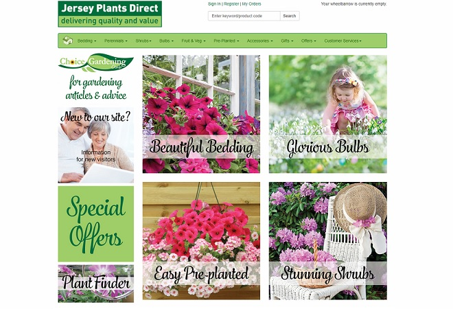 Jersey Plants Direct Homepage Screenshot