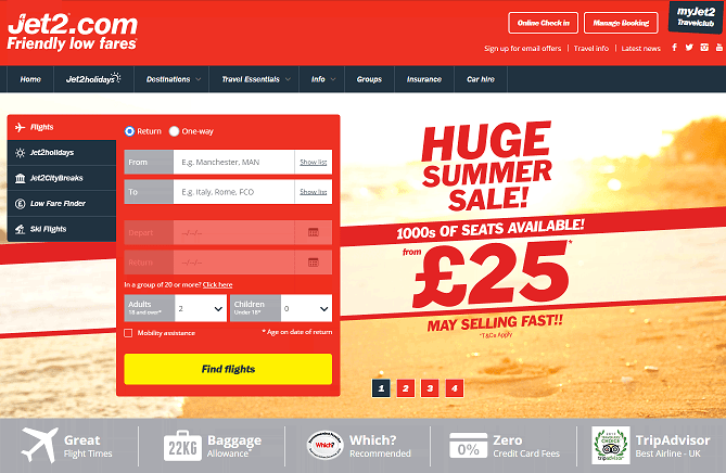 Jet2.com Homepage Screenshot