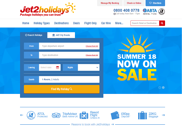 Jet2Holidays Homepage Screenshot