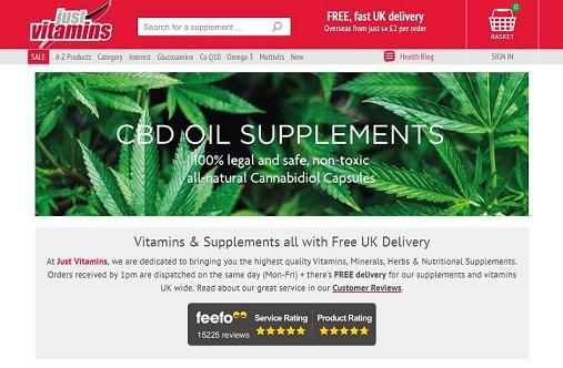 Just Vitamins Homepage Screenshot