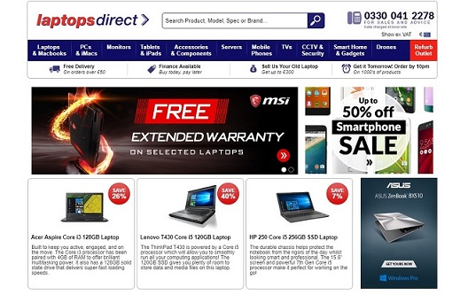 Laptops Direct Homepage Screenshot