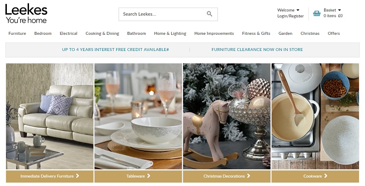 Leekes Homepage Screenshot