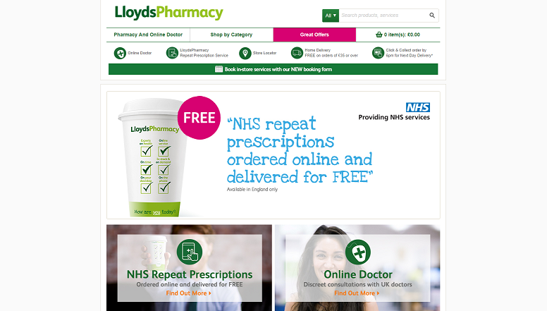 Lloyds Pharmacy Homepage Screenshot