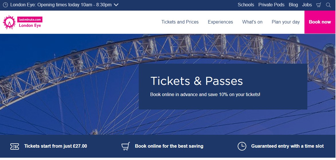 London Eye Homepage Screenshot