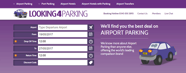 Looking4Parking Homepage Screenshot