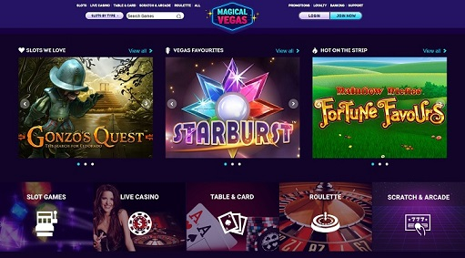 Magical Vegas Homepage Screenshot