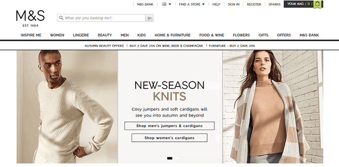 M&S Homepage Screenshot