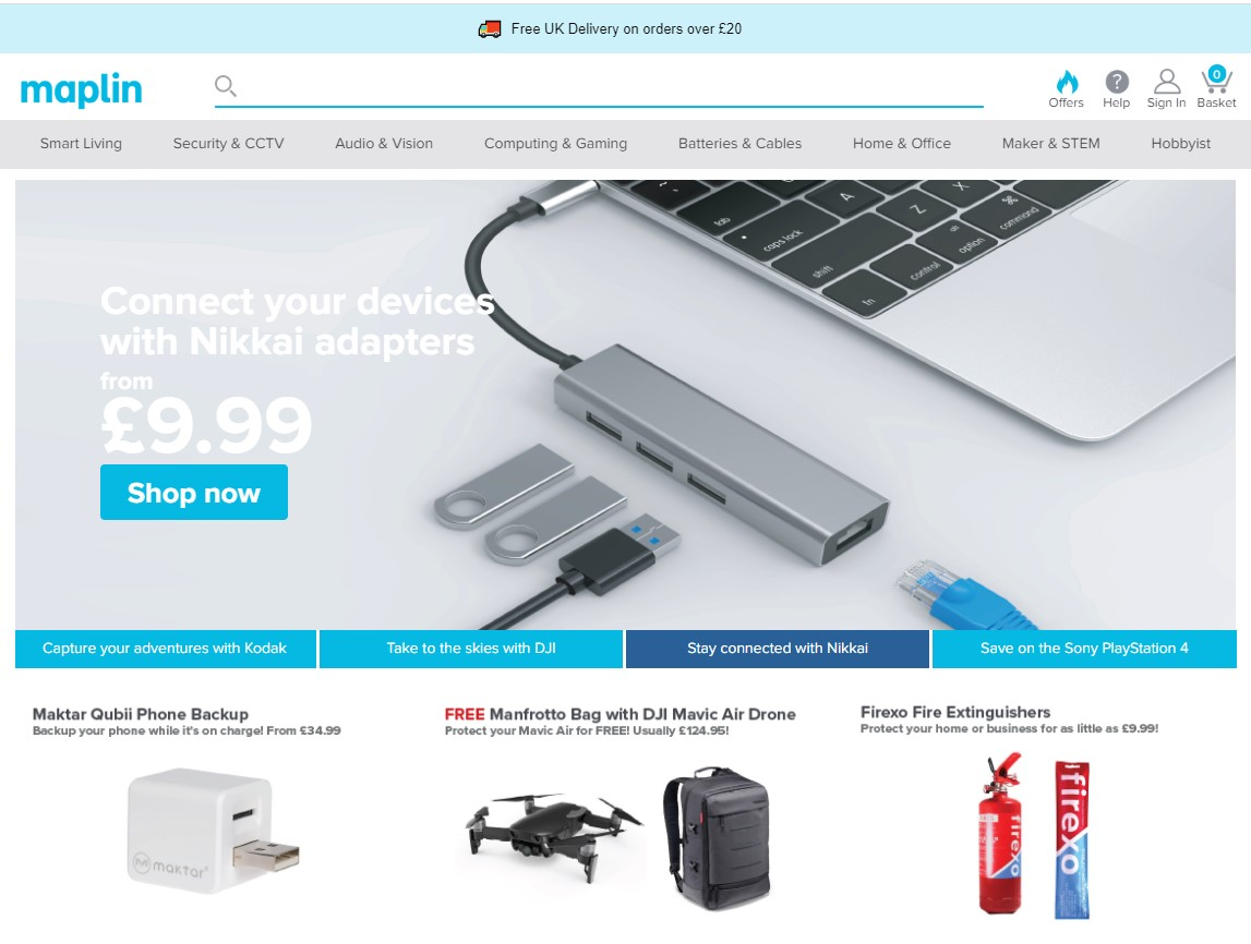 Maplin Homepage Screenshot