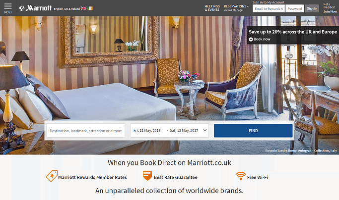 Marriott Hotels Homepage Screenshot