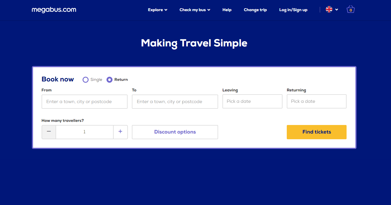 Megabus Homepage Screenshot