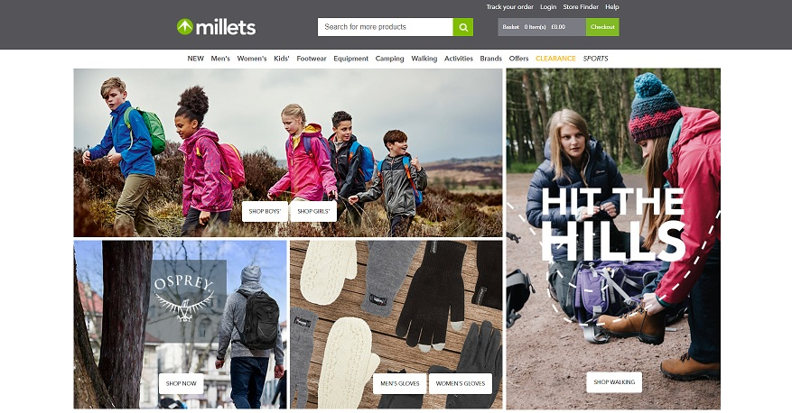 Millets Homepage Screenshot