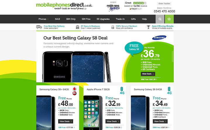 Mobilephones Direct Homepage Screenshot
