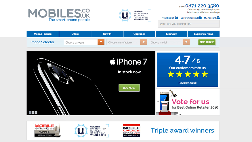 Mobiles.co.uk Homepage Screenshot