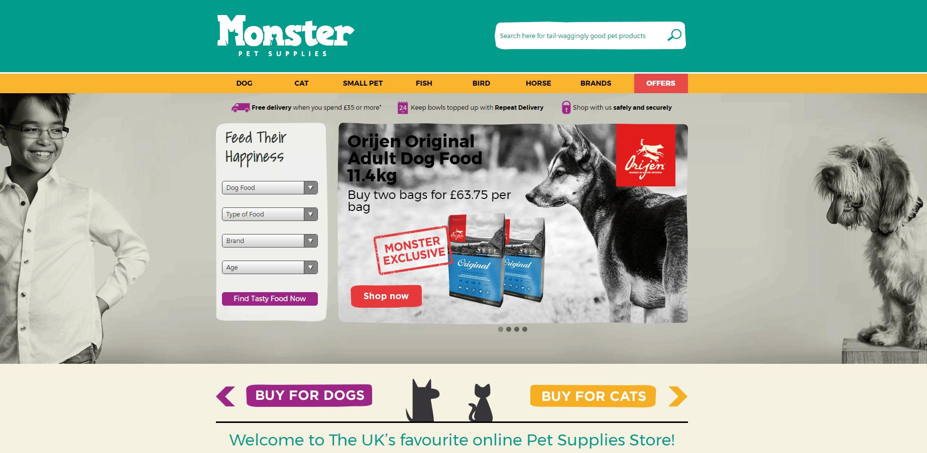 Monster Pet Supplies Homepage Screenshot