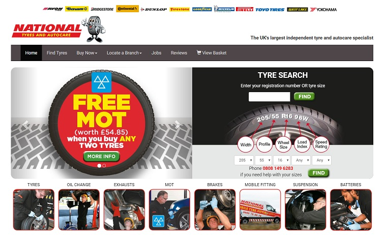National Tyres & Autocare Homepage Screenshot