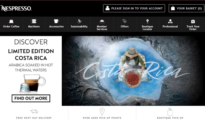 Nespresso Homepage Screenshot