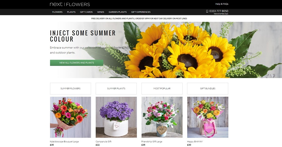 Next Flowers Homepage Screenshot