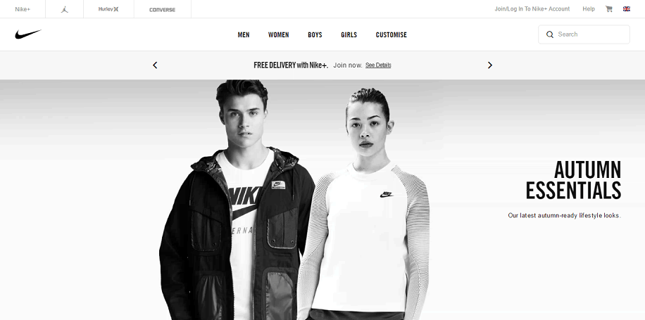 Nike Store Homepage Screenshot
