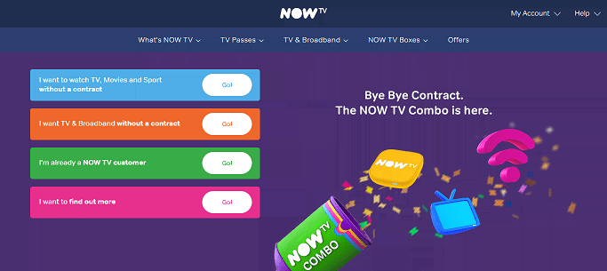 NowTV Homepage Screenshot