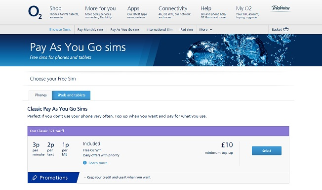 O2 Homepage Screenshot