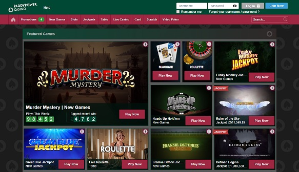 Paddypower Casino Homepage Screenshot