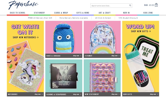 Paperchase Homepage Screenshot