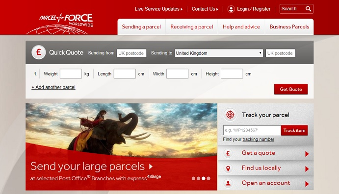 Parcelforce Homepage Screenshot