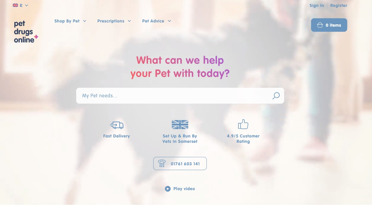 Pet Drugs Online Homepage Screenshot