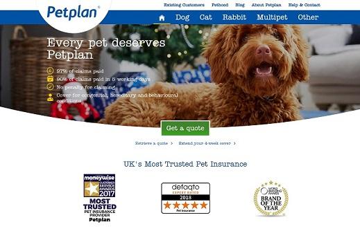 Petplan Pet Insurance Homepage