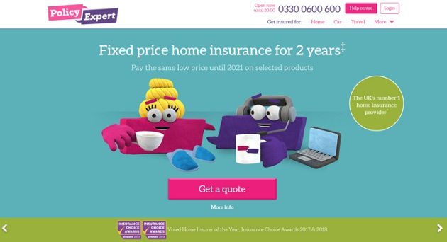 Policy Expert Home Insurance Homepage Screenshot