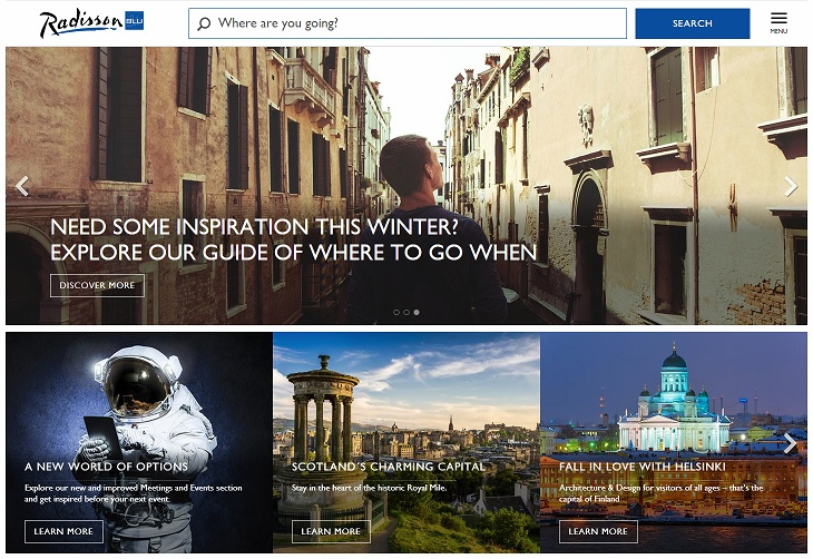 Radisson Blu Homepage Screenshot